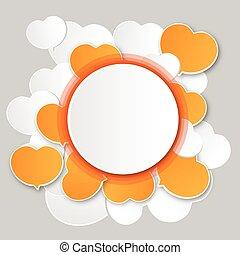 氣泡, 紙, 演說, 輪, 白色