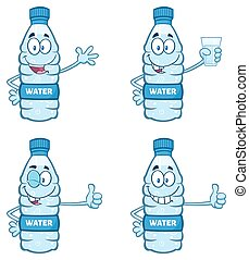 水のビン, コレクション, プラスチック