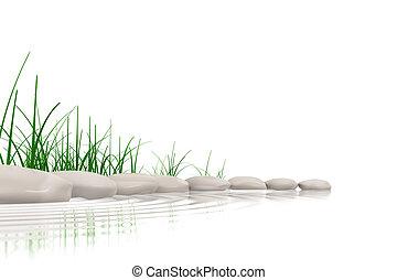 水は 研ぐ, 草, 石, &