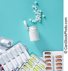 水ぶくれ, 丸薬, 銀, 上に, 緑, 開いた, 白, びん, medica
