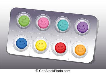 水ぶくれ, 微笑, 色, 丸薬, 幸せ