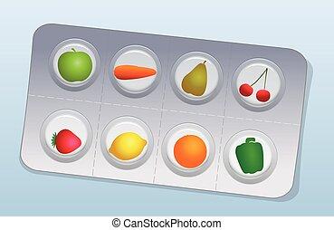 水ぶくれ, 野菜, ビタミン 丸薬