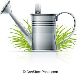水まき, 草, 缶