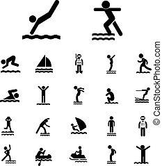 水スポーツ, セット, アイコン