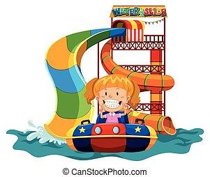 水スライド, 女の子, 遊び
