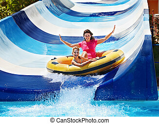 水スライド, 子供, 母, aquapark.