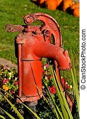 水ポンプ, 古い, 赤