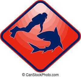 水下呼吸器潛水員, 以及, 鯊魚, 對抗, 在, 黑色半面畫像, 集合, 裡面, a, diamond.