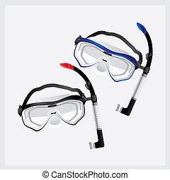 水下通气管, 以及, 面罩, 為, 跳水, 矢量, 插圖