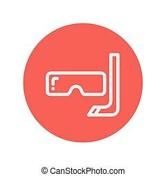 水下通气管, 以及, 面罩, 為, 跳水, 稀薄的線, 圖象