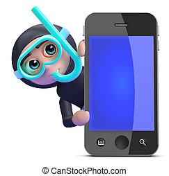 水下通气管, 後面, smartphone, 潛水者, 3d