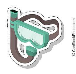 水下通气管, 面罩, 被隔离, 圖象