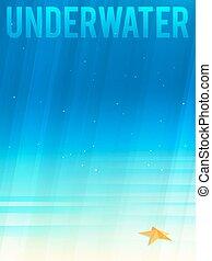 水中, イラスト, ライト, eps10., starfish., ベクトル, 簡単にされている, 背景