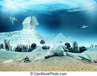 水中, スフィンクス, ピラミッド