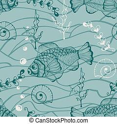 水中, ベクトル, seamless, パターン