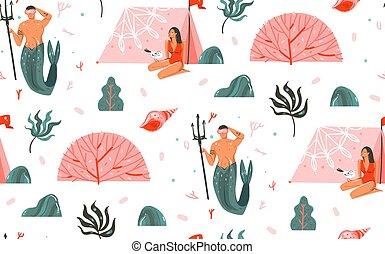 水中, 夏, グラフィック, 珊瑚, 浜, パターン, seamless, mermaid, 隔離された, ベクトル, 漫画, 砂洲, 手, 時間, 女の子, テント, イラスト, ビキニ, 引かれる, 抽象的, 背景, 人, 白