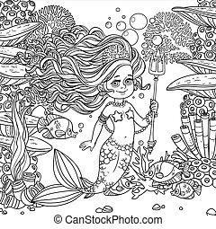 水中, 手掛かり, 世界, 魚, 女の子, 海草, 囲まれた, 珊瑚, fish, 背景, mermaid, trident, 概説された, 美しい
