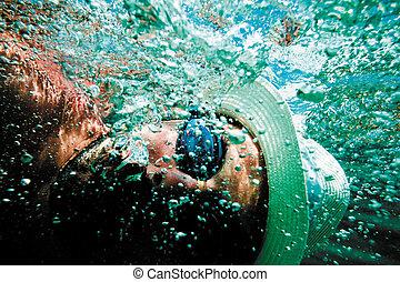 水中, 泡, 人, 海, 顔