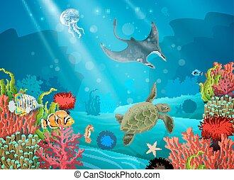 水中, 漫画, 風景