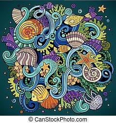 水中 生命, イラスト, hand-drawn, doodles, 漫画
