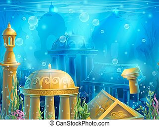 水中, atlantis., 金, 都市, seamless, 古代, 水中に沈められる