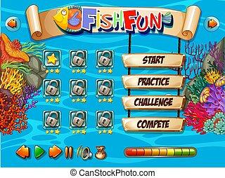 水中, fish, ゲーム, テンプレート