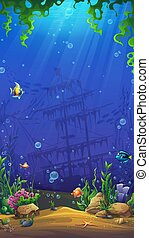 水中, fish, 砂, 背景, 石, 世界, 藻