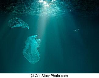 水中, pollution., 海洋, 海, プラスチック, ∥あるいは∥