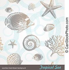 水中, -, seamless, 手, トロピカル, ベクトル, 背景, 引かれる, 動物群