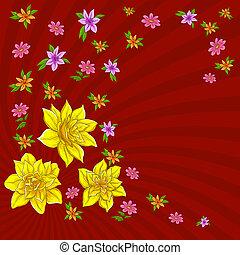 水仙, 背景, 花