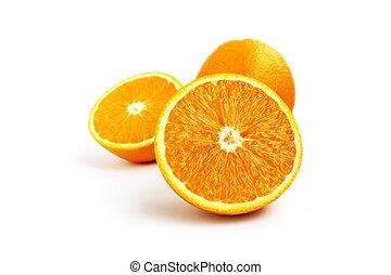 水分が多い, オレンジ, フルーツ, 隔離された, 白, 背景