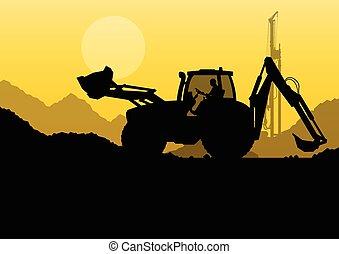 水力, 堆, 操練, 機器, 拖拉机, 以及, 工人, 挖掘, a
