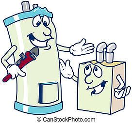 水加热器, 卡通漫画