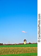 水塔, 在中, 乡村的地形