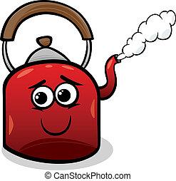 水壺, 以及, 蒸汽, 卡通, 插圖