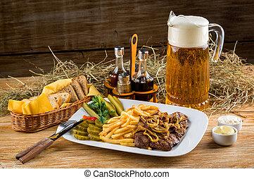 水差し, フライド・ポテト, フランス語, 牛肉, ビール, 焼き肉