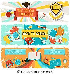 水平なバナー, ∥で∥, ∥, イラスト, の, 学校, objects.