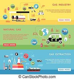 水平なバナー, セット, ガス, 産業