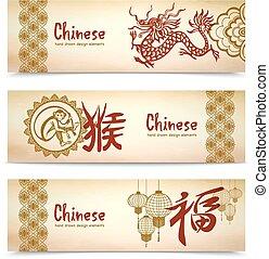 水平なバナー, 中国語