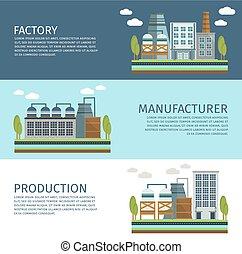 水平なバナー, 産業, セット, 建物