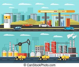 水平なバナー, 石油産業