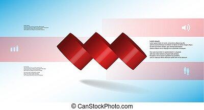 水平に, シリンダー, こぼされる, 3, イラスト, 薄く切られる, 部分, infographic, テンプレート, 3d