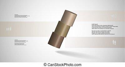水平に, シリンダー, 取り決められた, 3, イラスト, 薄く切られる, 部分, infographic, 斜めに, テンプレート, 3d