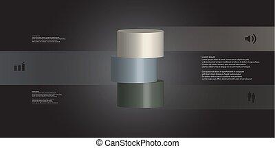 水平に, シリンダー, 3, イラスト, 薄く切られる, 部分, infographic, テンプレート, 3d