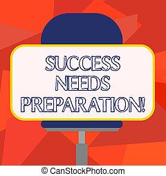 水平に, 必要性, 概念, 単語, 成功, ビジネス, モデル, テキスト, ステッカー, 未来, 旋回装置, 執筆, 形, preparation., 達成しなさい, ゴール, ブランク, 長方形, 用意, chair.