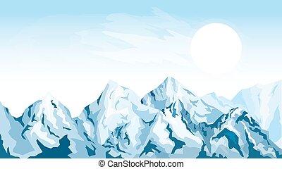 水平, 山, 背景