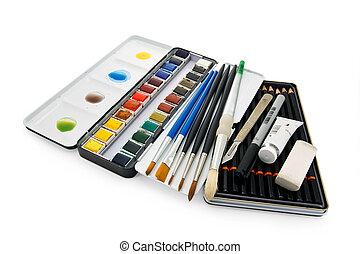 水彩画のペンキ, 装置