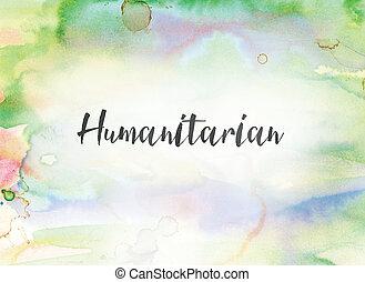 水彩画の絵, 概念, インク, 人道主義者