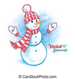 水彩画, かわいい, 雪だるま