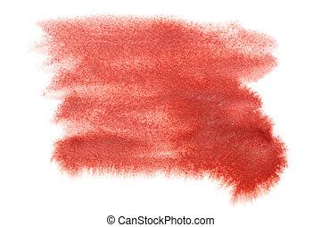 水彩画, しみ, 赤